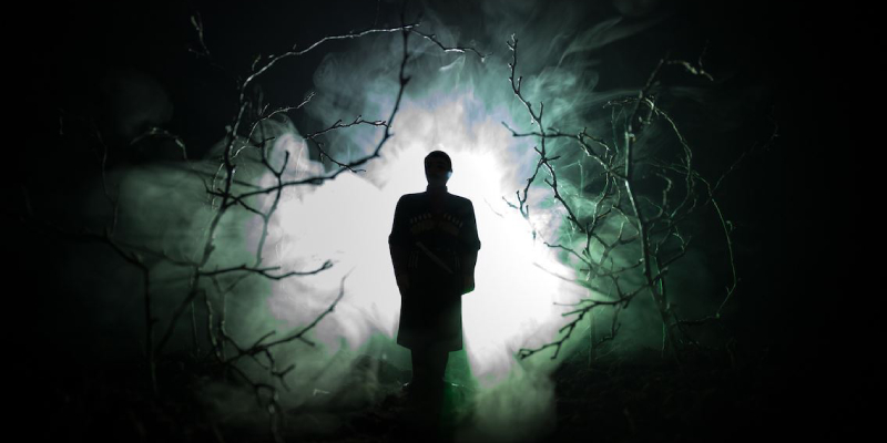 Image showing silhouette of a man standing inside the forest.