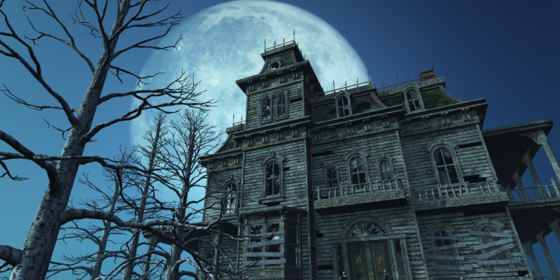 An Image Showing Haunted House With Fullmoon in the background.