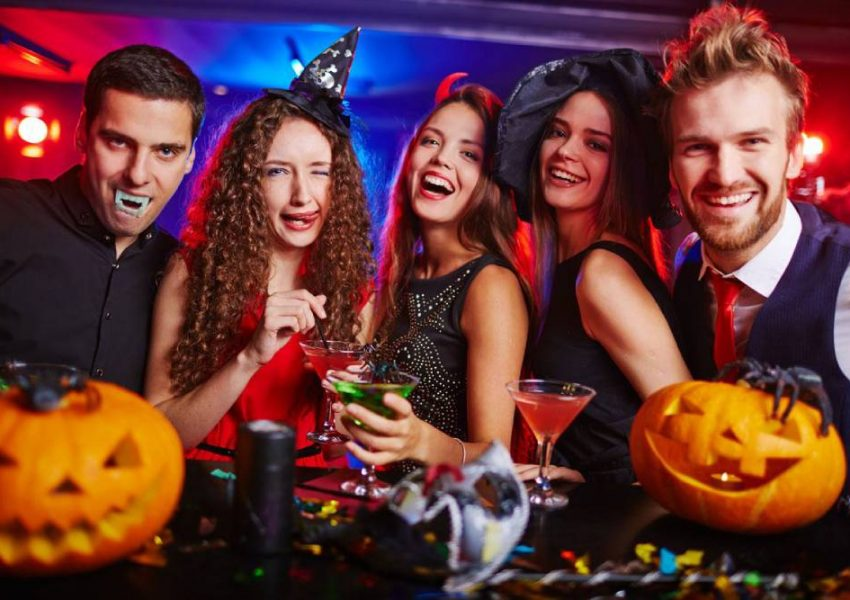 Image Representing Halloween Party Mode - Group of Friends In Halloween Costume.