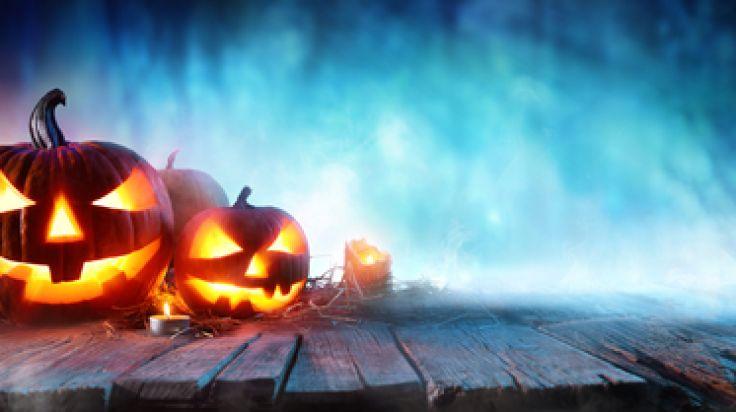 Halloween Pumpkin Headjack Lanterns In Spooky Forest With Ghost Lights.
